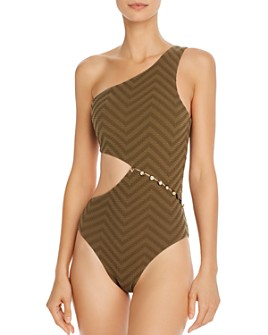 Red Carter - Asymmetric Maillot One Piece Swimsuit