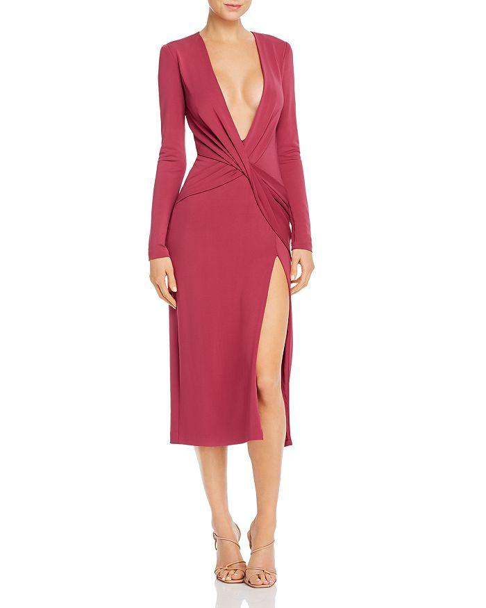 Cushnie - Plunging Twist-Detail Midi Dress
