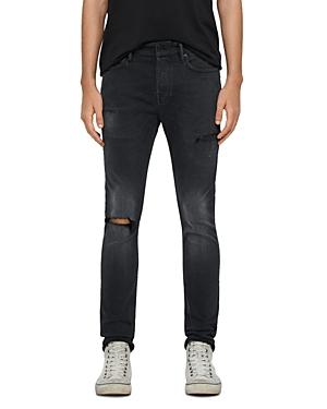 Allsaints Cigarette Damaged Skinny Jeans in Black
