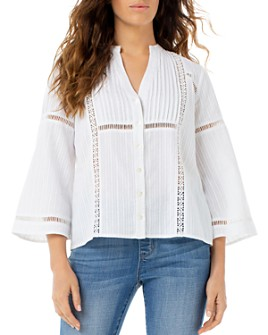 Liverpool Los Angeles - Embroidered Flare-Sleeve Top