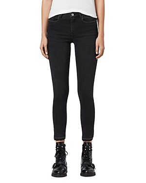 Allsaints Grace Studded Ankle Skinny Jeans in Washed Black