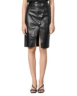 Sandro - Gilna Snap-Front Leather Skirt