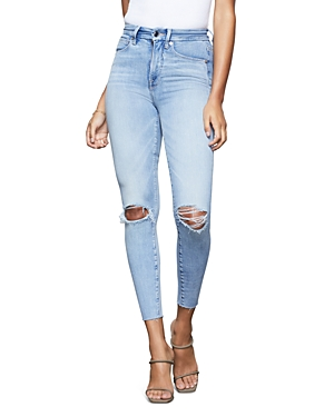 Good American Good Waist Crop Skinny Jeans in Blue352-Women