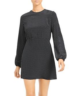 Theory - Crepe Polka Dot Long Sleeve Dress