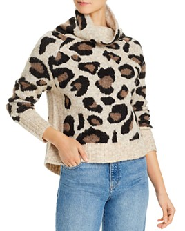 AQUA - Cowl-Neck Leopard Jacquard Sweater - 100% Exclusive