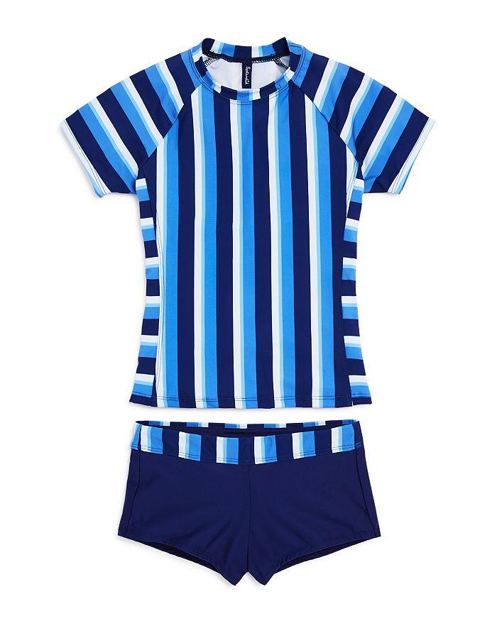 Splendid - Girls' Striped Rash Guard Top & Rash Guard Shorts Set - Little Kid, Big Kid