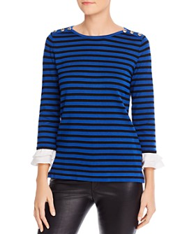 KARL LAGERFELD PARIS - Striped Bell-Cuff Sweater