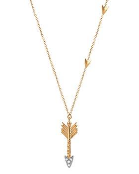 "Kismet By Milka - 14K Rose Gold Diamond Arrow Pendant Necklace, 18"""