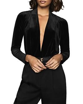 REISS - Rosalba Plunging Velvet Bodysuit