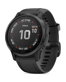 Garmin - Fenix 6S Black Silicone Strap Smartwatch, 42mm