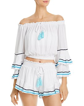 Surf Gypsy - Off-the-Shoulder Cropped Top & Zigzag-Trim Shorts Swim Cover-Ups