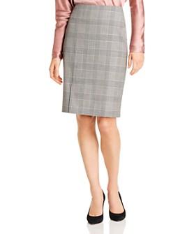 BOSS - Velray Plaid Wool Pencil Skirt