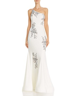 Avery G - One-Shoulder Embroidered Mermaid Gown