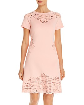 T Tahari - Laser-Cut Short-Sleeve Dress