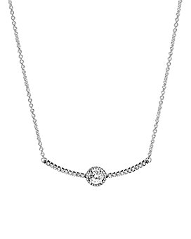 Pandora - Collier Sterling Silver & Cubic Zirconia Round Sparkle Necklace, 17.7""