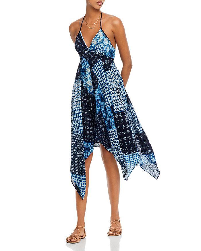 AQUA - Mixed-Print Halter Dress - 100% Exclusive