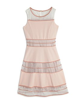 US Angels - Girls' Mesh-Stripe Dress - Big Kid