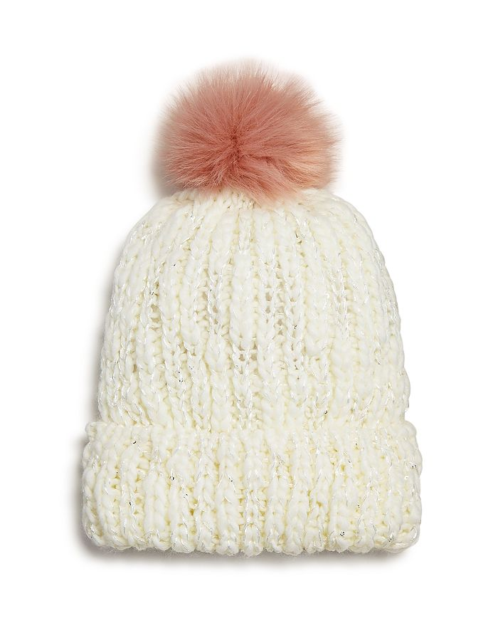 AQUA - Girls' Pom-Pom Beanie Hat - 100% Exclusive