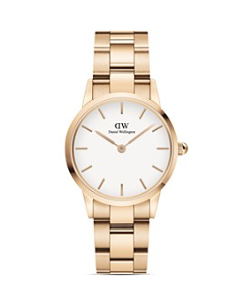 Daniel Wellington - White Dial Rose Gold-Tone or Silver-Tone Link Bracelet Watch, 28mm-32mm