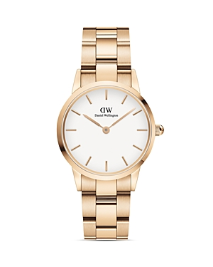 White Dial Rose Gold-Tone or Silver-Tone Link Bracelet Watch