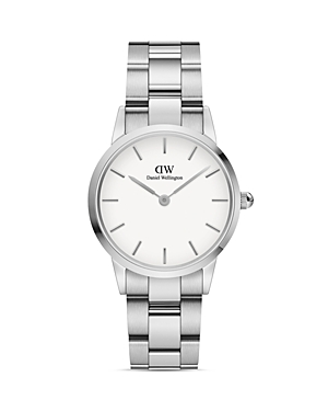 Daniel Wellington Watches WHITE DIAL ROSE GOLD-TONE OR SILVER-TONE LINK BRACELET WATCH, 28MM-32MM