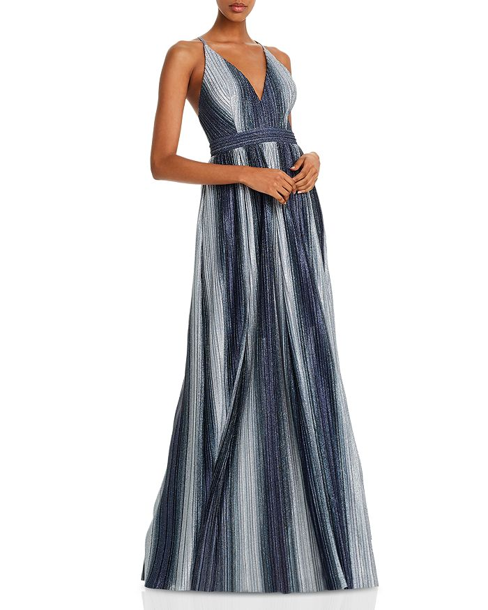 AQUA - Striped Lurex Gown - 100% Exclusive