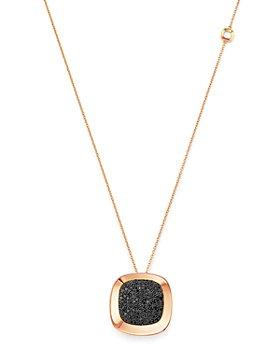 "Roberto Coin - 18K Rose Gold Carnaby Street Black Diamond Pendant Necklace, 28"""