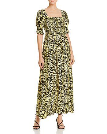Notes du Nord - Olivia Leopard-Print Smocked Maxi Dress