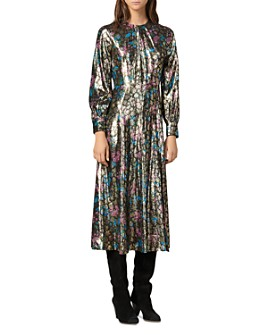 Sandro - Lara Metallic Floral Midi Dress