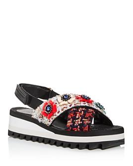 KURT GEIGER LONDON - Women's Olina Embellished Slingback Platform Sandals