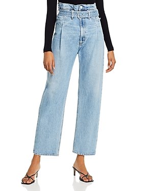 Agolde Cotton Paperbag-Waist Jeans in Revival-Women