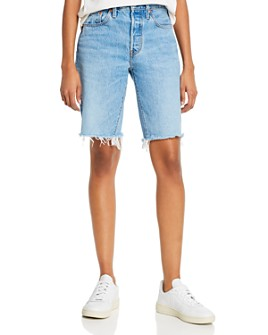 Levi's - Cotton Frayed Denim Shorts in Luxor Nights