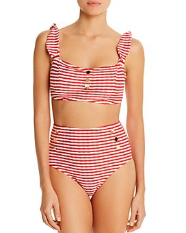 Shoshanna - Texture Striped Button Bikini Top & Texture Striped High-Waist Bikini Bottom