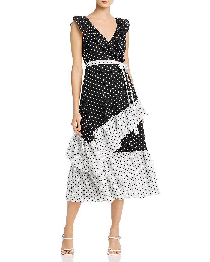 AQUA - Color-Block Polka Dot Midi Dress - 100% Exclusive