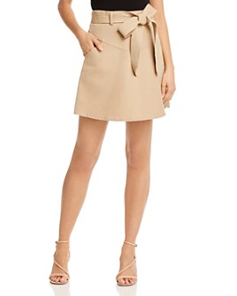 Rebecca Minkoff - Stacy Belted Linen & Cotton Mini Skirt