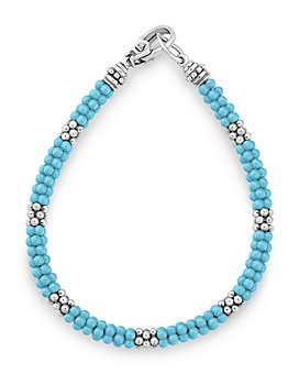 LAGOS - Sterling Silver Caviar Blue Ceramic Beaded Bracelet