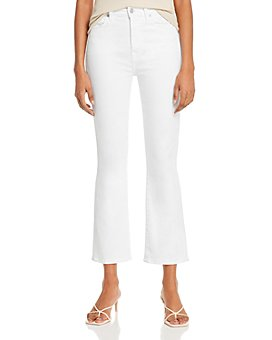 7 For All Mankind - The High-Waist Slim Kick Jeans in Slim Illusion Luxe White