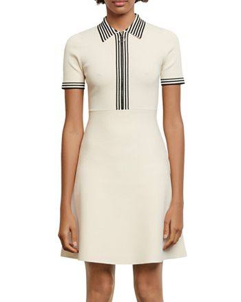 Sandro - Paulzy Stripe-Trim Knit A-Line Dress