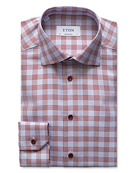 Eton - Slim Fit Contrast Blue Button Plaid Dress Shirt
