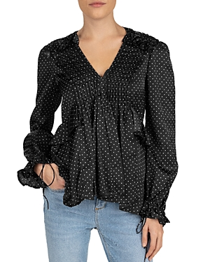 The Kooples TETE D'EPINGLE PLEATED POLKA DOT TOP