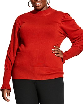 City Chic Plus - Puff-Sleeve Mock-Neck Sweater