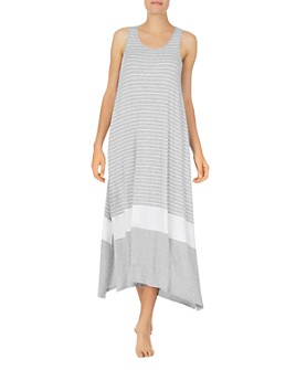 Donna Karan - Striped Sleeveless Long Nightgown