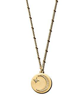"""Sequin - Pavé-Detail Moon & Star Talisman Necklace, 32"""""""
