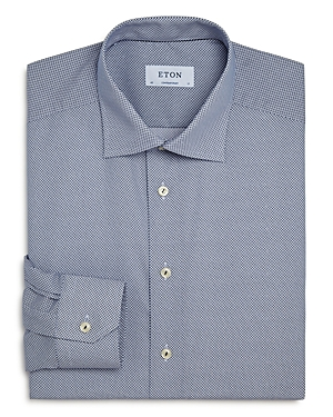 Eton Contemporary Fit Micro Print Poplin Dress Shirt