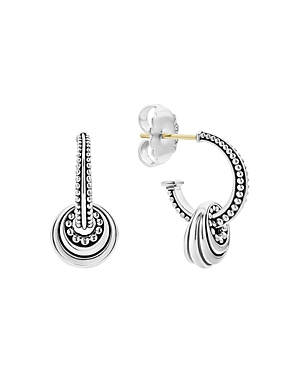 Lagos Sterling Silver Signature Caviar Fluted Disc Hoop Earrings-Jewelry & Accessories