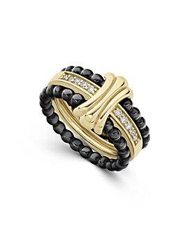 LAGOS - 18K Yellow Gold & Ceramic Caviar Diamond Stack Ring