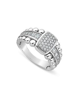 Lagos Sterling Silver Caviar Spark Diamond Ring