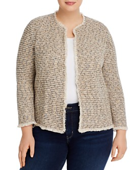 NIC and ZOE Plus - Plus Casting Fringe-Trim Cardigan