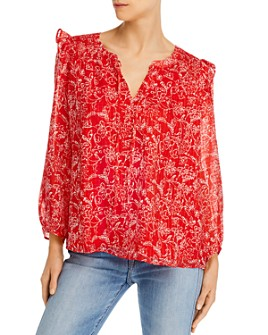 Parker - Floral-Print Ruffle-Shoulder Silk Top