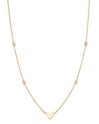 Zoë Chicco - 14K Gold & Diamond Heart Necklace, 16""